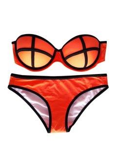 Color Block Push-Up Bikini Set - Orange L