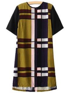 Checked Short Sleeve Dress - M