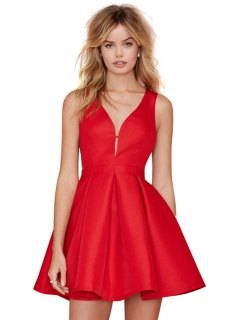 Solid Color Back Zipper Dress - Red S