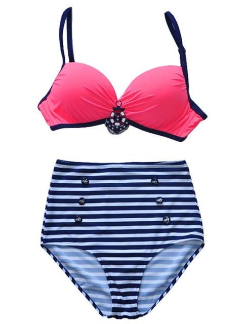 ladies Spaghetti Straps Striped Bikini Set - RED L Mobile