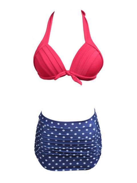 buy Polka Dot Divided Type Swimwear - BLUE S Mobile