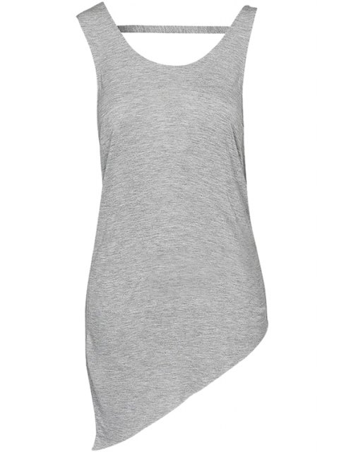 outfits Solid Color Backless Tank Top - GRAY 2XL Mobile