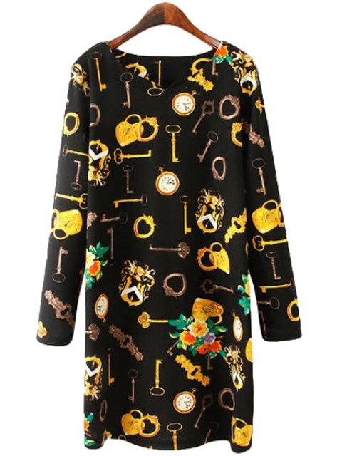 best Key Print Long Sleeve Dress - BLACK L Mobile