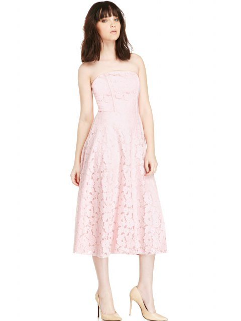 lady Pink Strapless Lace Dress - PINK M Mobile