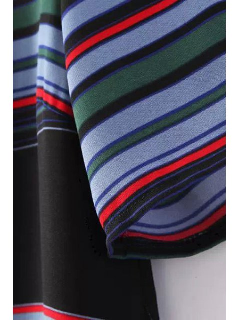 women's Colorful Stripe Short Sleeve Dress - COLORMIX L Mobile