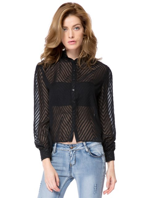 hot Striped Single-Breasted Back Blouse - BLACK M Mobile