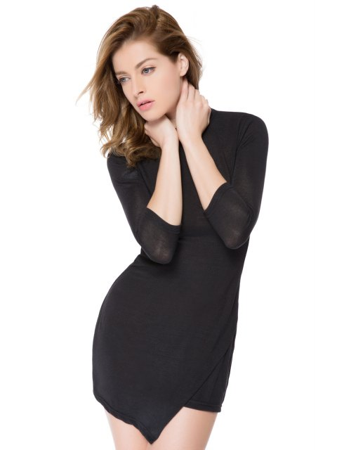 outfit Bodycon 3/4 Sleeve Black Dress - BLACK XS Mobile