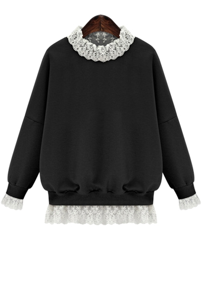 Lace Splicing Long Sleeves Sweatshirt