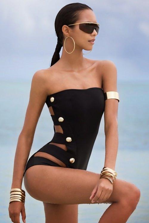 Black Strapless One-Piece Swimwear BLACK: Swimwear | ZAFUL