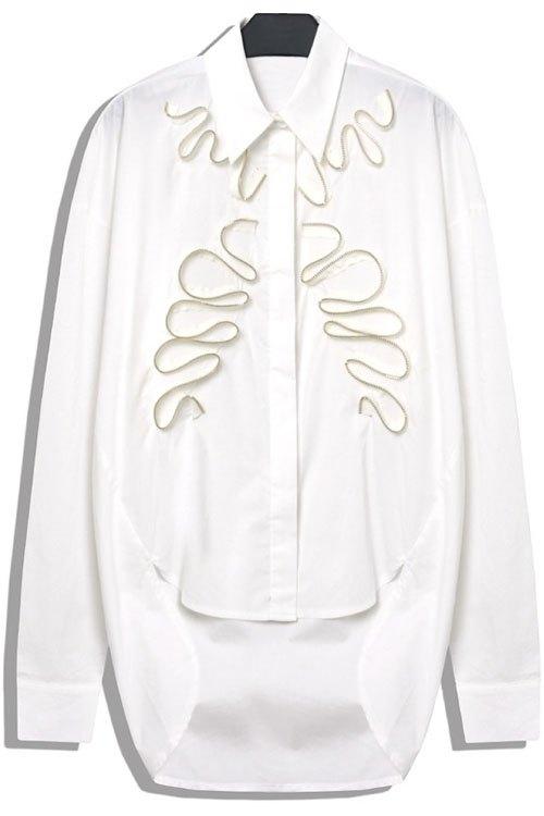 Stereo Zipper Splicing Asymmetrical Shirt