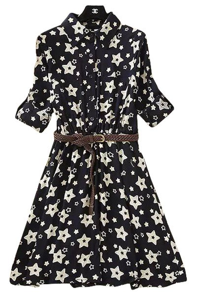 Turn-Down Collar Star Print Dress