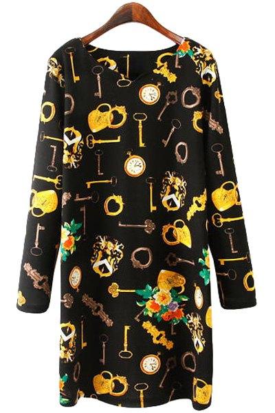 Key Print Long Sleeve Dress