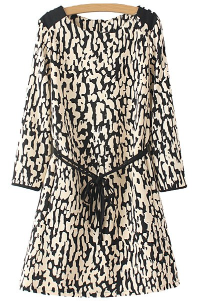 Leopard Pattern Tie-Up Back Zipper Dress - COLORMIX S