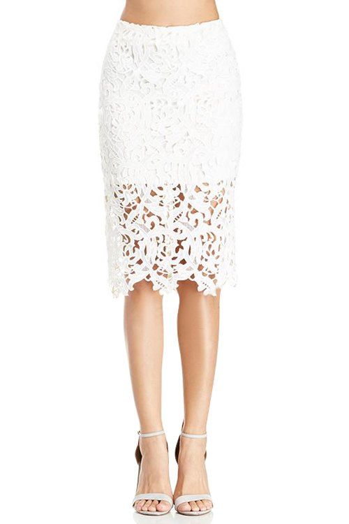 Openwork Lace Splicing Zipper Fly Skirt