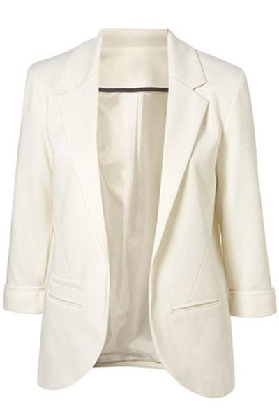 Lapel Solid Color 3/4 Sleeve Blazer