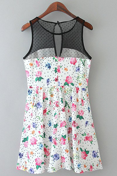 Jewel Neck Floral Print Voile Splicing Sleeveless Dress