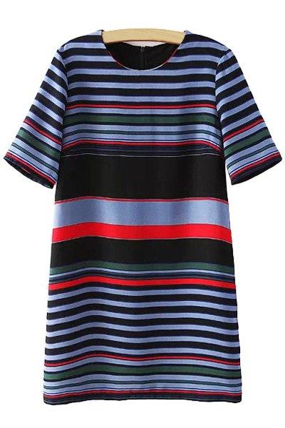 Jewel Neck Colorful Stripe Short Sleeve Dress