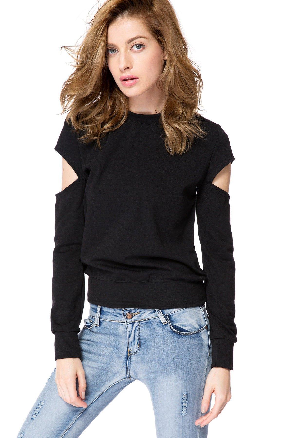 Buy Black Long Sleeve Cut Out Sweatshirt BLACK 2XL