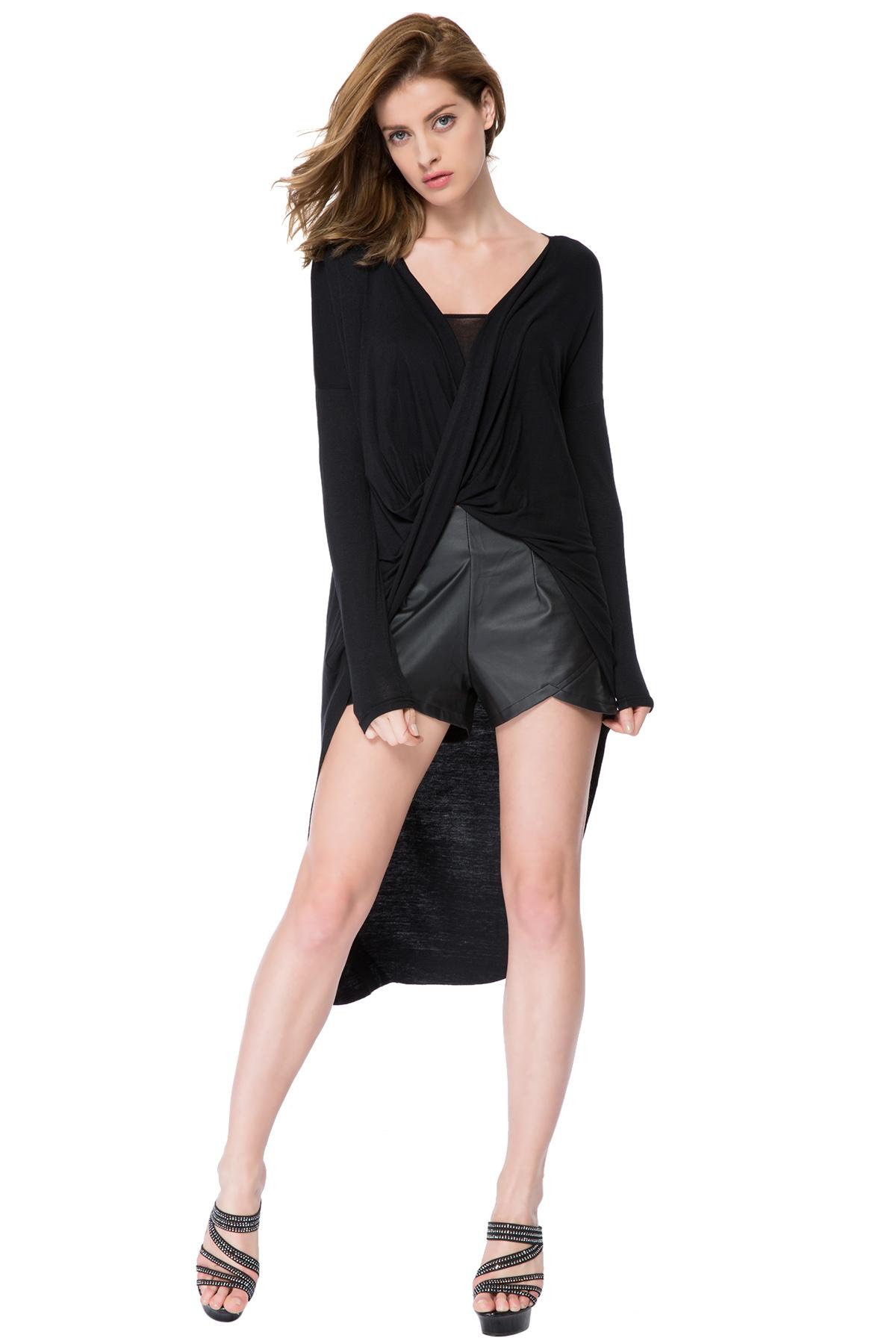 Buy Black V-Neck High-Low Hem Blouse BLACK XL