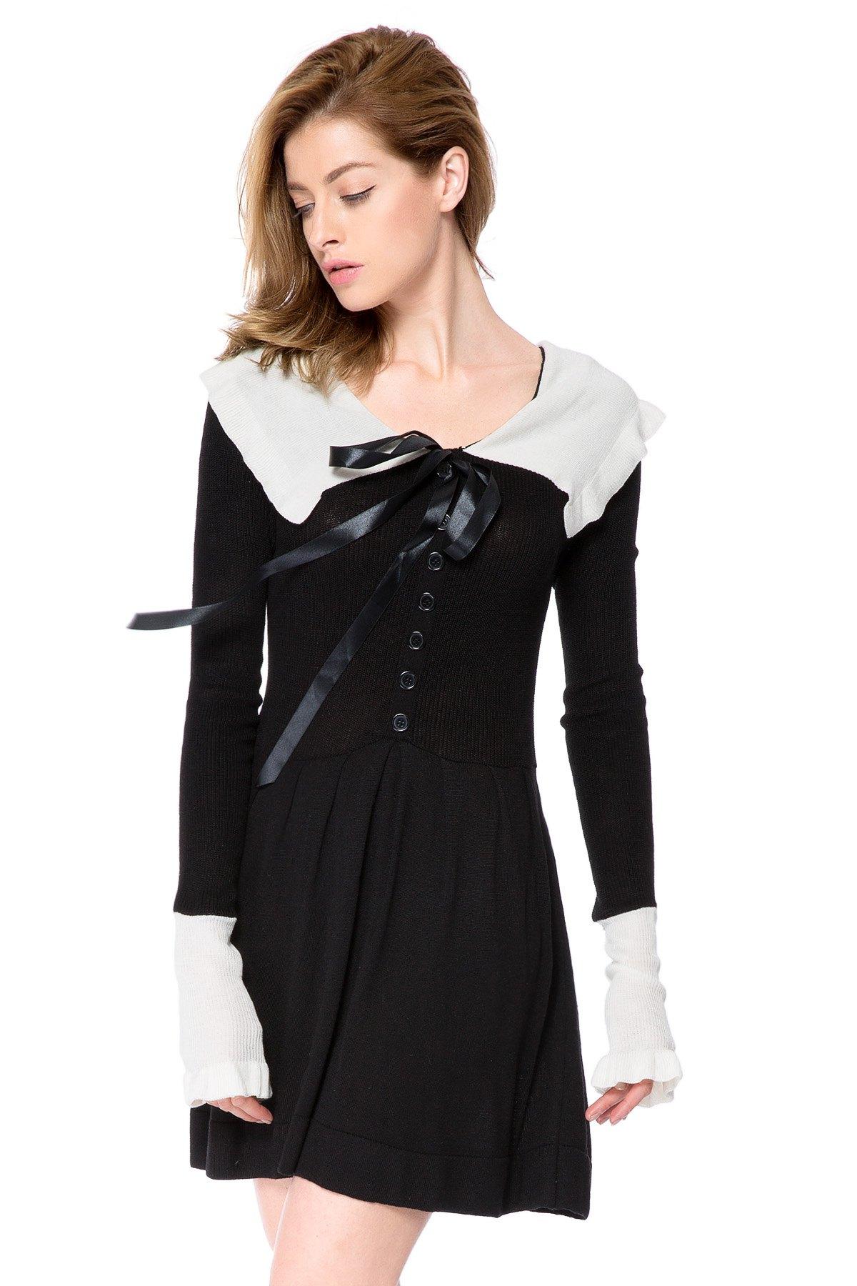 Peter Pan Collar Long Sleeve Color Block Sweater Dress