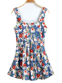 U-Neck Floral Print Ruffle Dress
