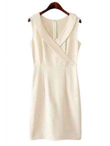 V-Neck Solid Color Slit Dress