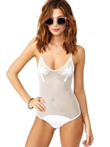 Spaghetti Strap Openwork Voile Splicing Sleeveless Swimwear