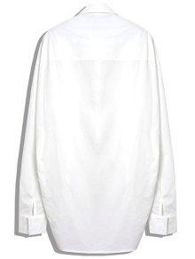 Stereo Zipper Splicing Asymmetrical Shirt - WHITE S