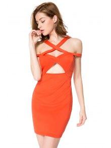 Solid Color Off-The-Shoulder Bodycon Dress