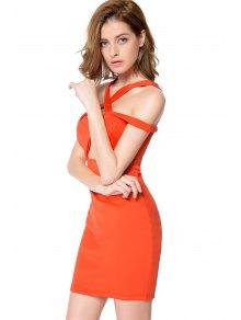 Solid Color Off-The-Shoulder Bodycon Dress - JACINTH S
