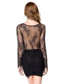 Solid Color Plunging Neck Lace Dress - BLACK XL
