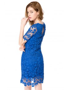 Crochet Flower Short Sleeve Dress - BLUE XS