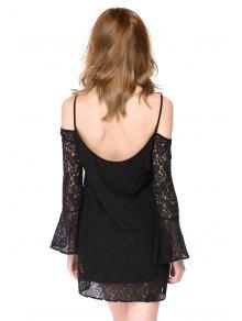 Spaghetti Straps Black Lace Dress - BLACK XS