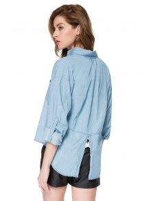 Solid Color Denim Shirt - BLUE S