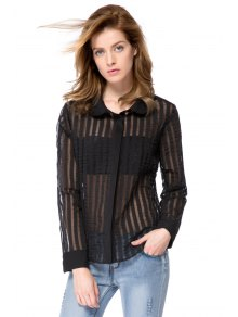 Striped Turn-Down Collar Shirt