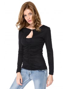 Solid Color Ruched Long Sleeve T-Shirt