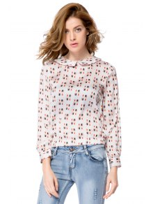 Lipstick Print Long Sleeve Blouse