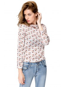 Lipstick Print Long Sleeve Blouse - OFF WHITE S
