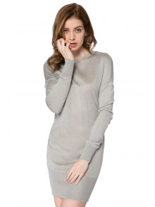 Bowknot Embellished Long Sleeve Dress - GRAY S