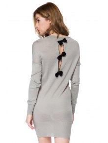 Bowknot Embellished Long Sleeve Dress