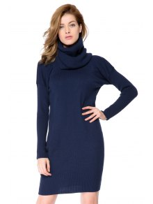 Buy Solid Color Scarf Sweater Dress - CADETBLUE 2XL