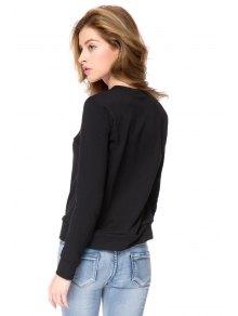 Long Sleeve Lip Print Sweatshirt - BLACK XS
