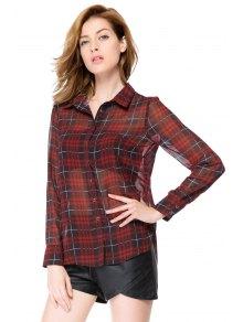 Red Plaid Long Sleeve Shirt