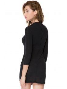 Bodycon 3/4 Sleeve Black Dress - BLACK XS