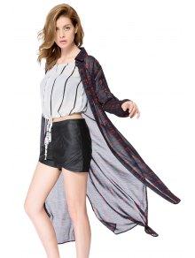 Plaid Long Sleeve Maxi Shirt - CHECKED S