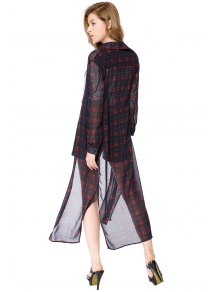 Plaid Long Sleeve Maxi Shirt