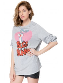 Cartoon and Letter Print Sweatshirt - GRAY XS