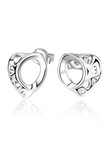 Pair Of Stylish Women's Openwork Irregular Heart Shape Earrings - Silver