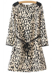 Leopard Pattern Tie-Up Back Zipper Dress