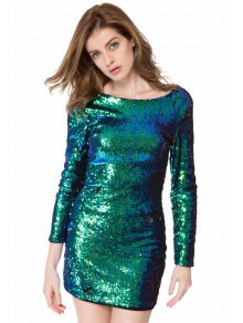 Sequins Long Sleeve Bodycon Dress